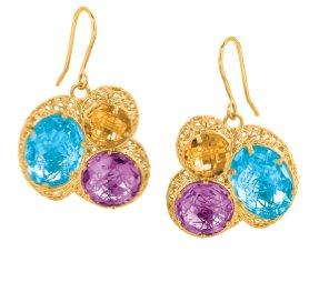 Sil Novo 14k Gold Blue Topaz, Amethyst & Citrine Earrings